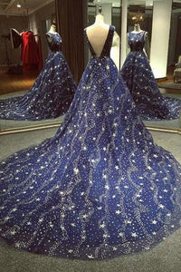 Chic A-line Ball Gown Dark Navy Sweep Train Tulle Modest Rhinestone Long Prom Dresses PFP0892