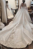 Attractive Satin Sheer Jewel Neckline Long Sleeves Wedding Dresses With Lace Appliques PFW0116