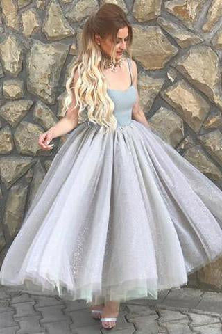 Simple A-Line Spaghetti Straps Prom Dress,Gray Tulle Short Homecoming Dress PFP0894