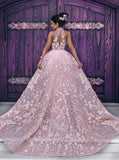 Luxury Pink Lace Wedding Dresses Halter Embroidery Slleveless Prom Dress Evening Dress PFP0896