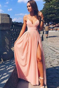 Cheap Spaghetti Strap V Neck Pink Prom Dress With Split,Simple Long Evening Dress PFP0897