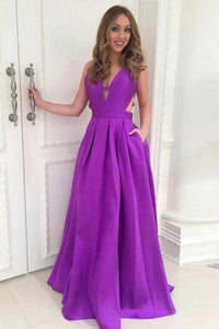 Simple A-Line Deep V-Neck Backless Long Purple Satin Prom Dress with Pockets