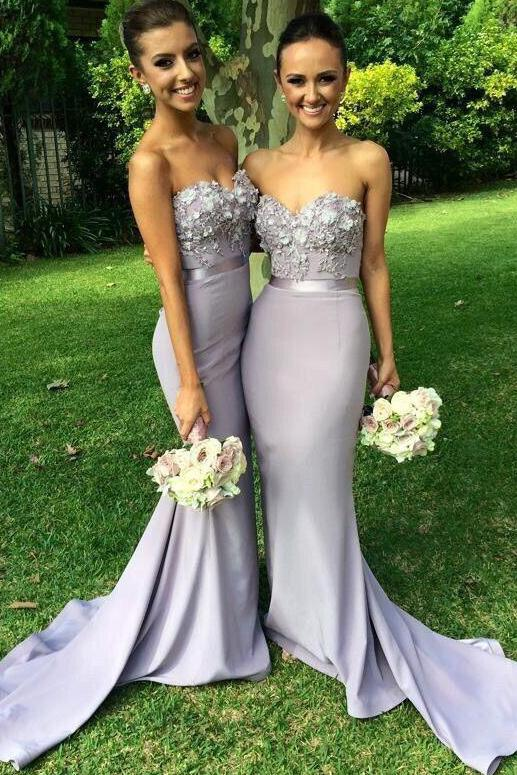Elegant Long Mermaid Light Grey Sweetheart Appliques Beaded Bridesmaid Dresses,Prom Dress PFP0899