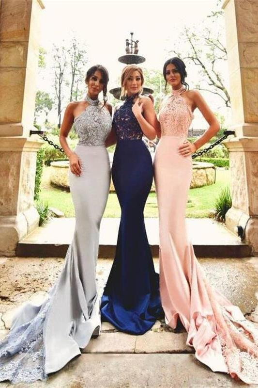 Lace Top Mermaid Long Halter Backless Sexy Bridesmaid Dresses For Weddings PFP0900