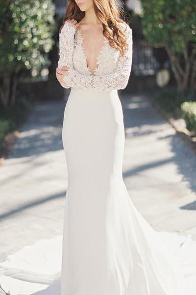 2019 Sexy Deep V-Neck Lace Top Long Sleeve Mermaid Wedding Dress PFW0123