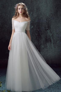 Simple Tulle Off Shoulder Floor-Length Short Sleeves A-line Lace Up Back Wedding Dress PFW0124