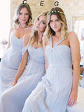 Beautiful Chiffon Light Blue Sexy A Line Long Cheap Bridesmaid Dresses PFP0902
