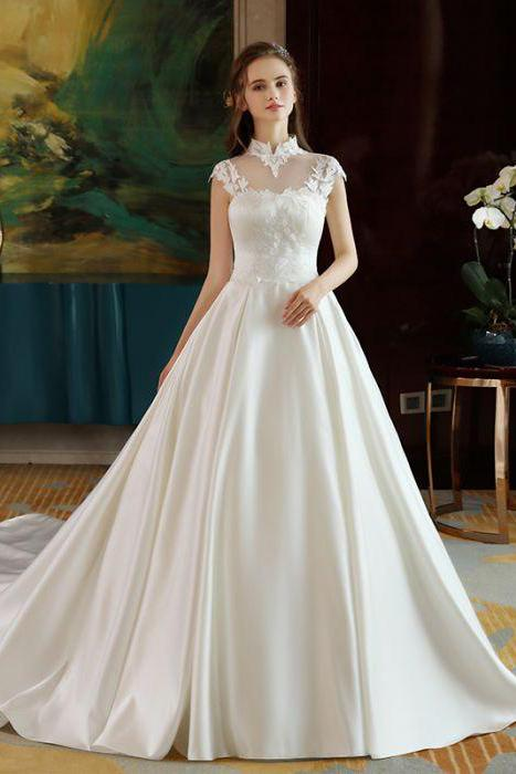 Ivory High Neck Ball Gown Lace Applique Cheap Wedding Dresses PFW0125