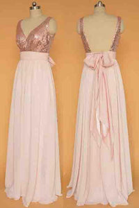V-neck Rose Gold Chiffon A-line Bridesmaid Dresses,Sequinned Bodice Long Prom Dress PFP0903