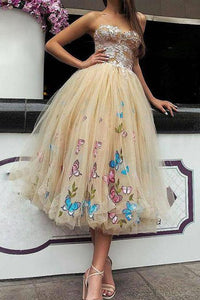 Princess Tea Length Tulle Prom Dresses,Ball Gown Lace Top Strapless Homecoming Dresses PFP0905