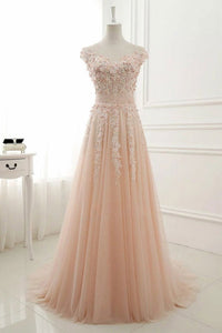 Round Neck Lace Appliques Prom Dresses,Tulle A Line Evening Dress PFP0906