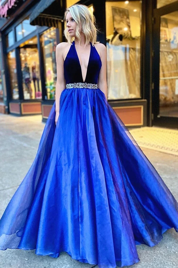 Promfast V Neck Backless Royal Blue Halter Prom Dresses, Long Beaded Formal Evening Dresses PFP1843