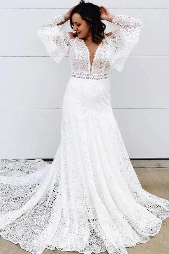 Promfast Elegant A Line Lace Long Sleeves V Neck Wedding Dress PFW0460