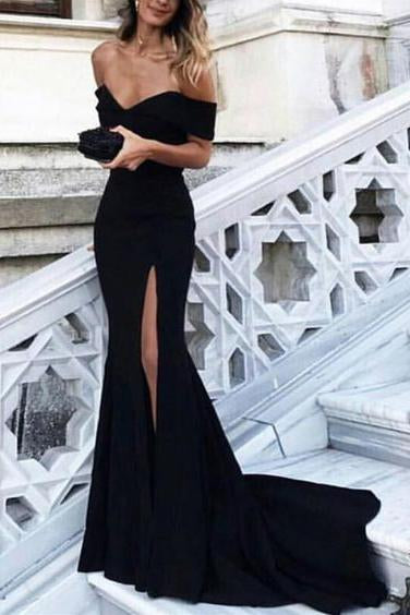 Black Off the Shoulder Sexy Prom Dresses,Long Front Slit Mermaid Evening Gown PFP0907