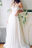 Popular Off the Shoulder Long A-line Ivory Chiffon Sexy Beach Wedding Dresses PFW0128