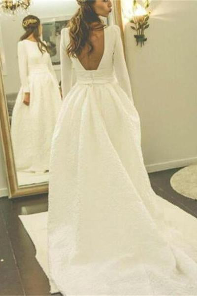 Ivory Long Sleeves Backless Simple Wedding Dress,Elegant A Line Prom Dress PFW0131