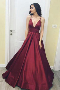Simple Spaghetti Straps Burgundy V neck Long Prom Dress,A Line Formal Evening Dress PFP0914