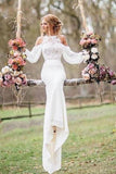 Unique Lace Top Long Sleeves Mermaid Long Wedding Dress PFW0132