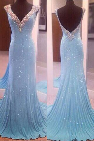 Modest V-Neck Sleeveless Sequins Blue Mermaid Backless Floor-Length Long Prom Dresses PFP0918
