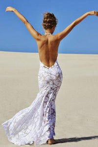 Sexy Mermaid Lace White Halter V-Neck Backless Beach Wedding Dress PFW0135