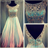 Unique Scoop Backless Cap Sleeves Beaded Bodice Tulle Long Prom Dresses For Girls PFP0919