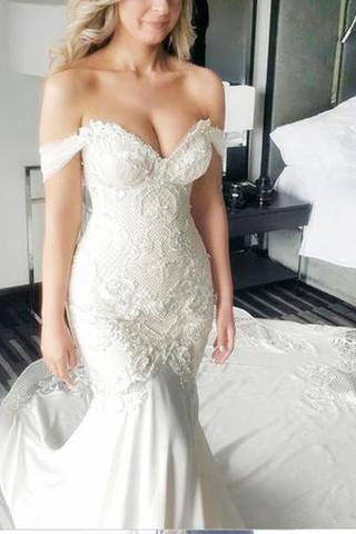 Mermaid Off-the-Shoulder Lace Long Cheap Count Train Backless Plus Size  Wedding Dress PFW0137