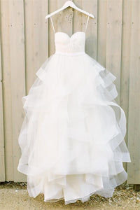 Simple Strapless White Tulle Long Cheap Princess Beach Wedding Dresses PFW0004