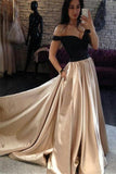 Off Shoulder A-line Satin Black Top Long Cheap Prom Dresses PFP0009