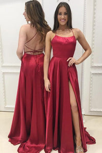 Burgundy Spaghetti Strap Prom Dress with Slit, Sexy Long Party Dresses