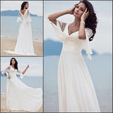 Princess A Line V-neck Chiffon Lace Short Sleeves Beach/Coast Wedding Dresses PFW0235