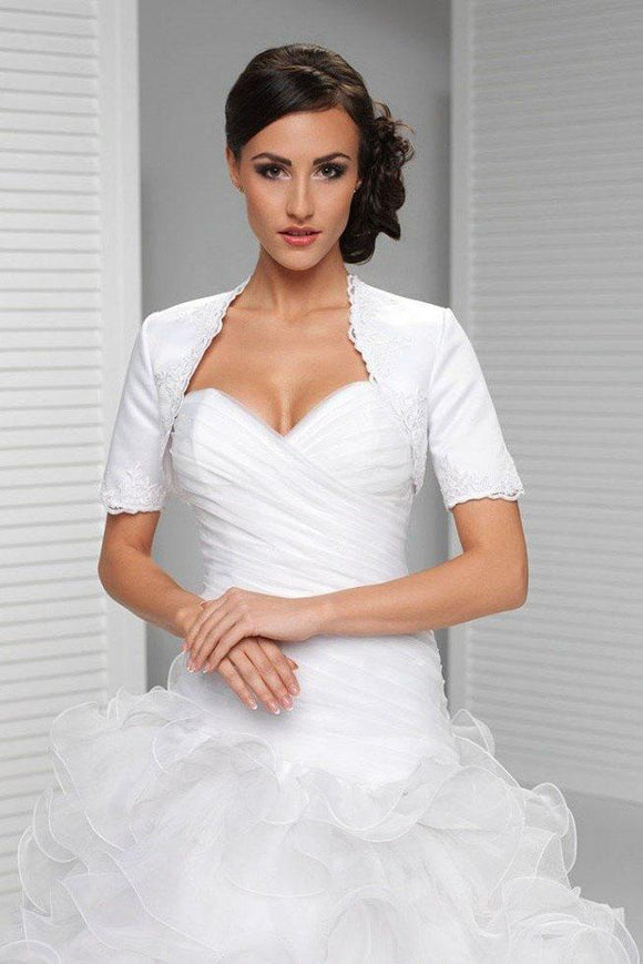 White Appliqued Short Sleeve Satin Bridal Shrug, Satin Short Sleeves Wedding Jacket PFSW0008