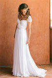 Cheap Sweetheart Beading Cap Sleeves Chiffon A-Line Pleats Wedding Dress PFW0139