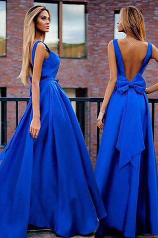 Sexy A-Line V-Neck Sweep Train Backless Royal Blue Prom Dress with Bowknot Pleats PFP0924