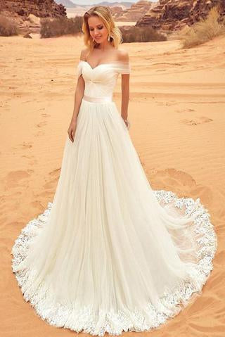 Elegant Off-the-Shoulder Sweep Train A-Line Tulle Ivory Appliques Wedding Dress PFW0140