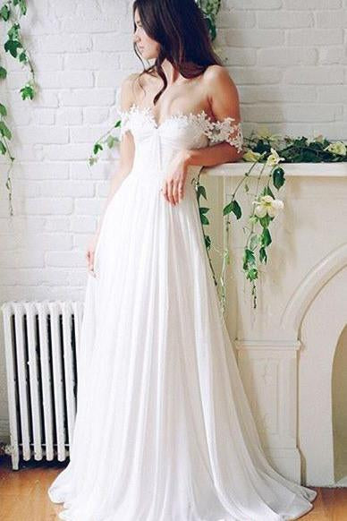 Off-the-shoulder A-line Lace Beach Wedding Dresses,Simple White Chiffon Prom Dresses PFP0925