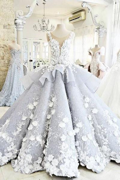 Pretty Ball Gown Flowers Long Quinceanera Dress,Backless Princess Formal Dress Wedding /Prom PFP0926