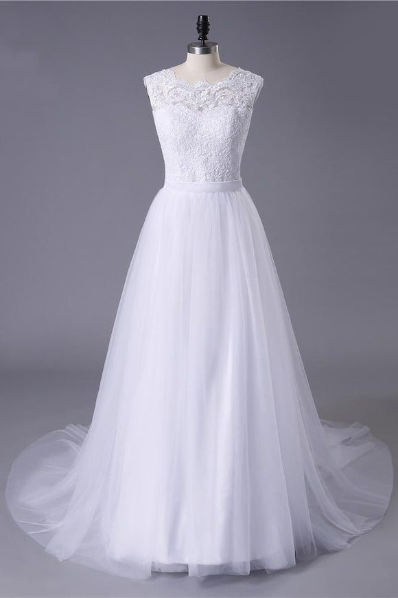 Princess White Tulle Lace Top Beaded Wedding Dresses, Cheap Long Bridal Dress