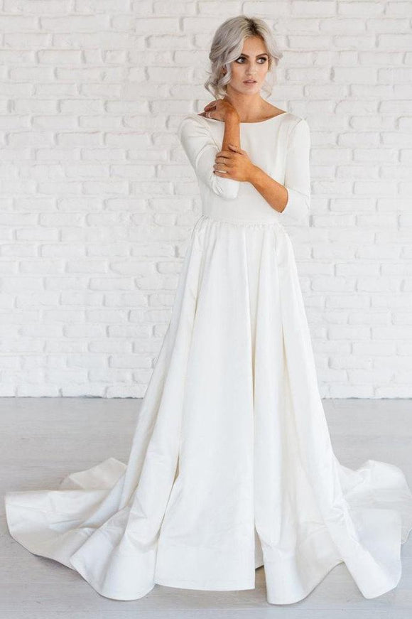 Simple White A-line Satin Sweep Train 3/4 Sleeve Backless Wedding Dresses PFW0142