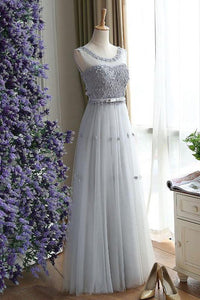 Charming Gray A Line Tulle Long Floral Simple Sleeveless Long Prom Dress PFP0928