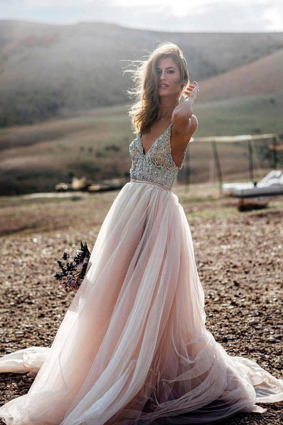 Pink Beading A Line V- Neck Sexy Tulle Long Beach Wedding/Prom Dress PFP0929