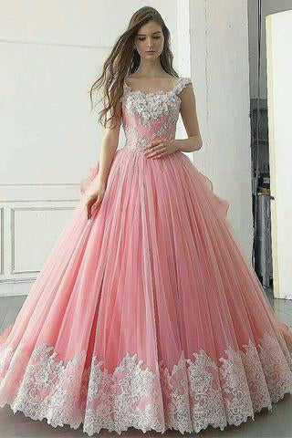 Pink Ball Gown Appliqued A Line Long Prom Dress,Pretty Quinceanera Dress PFP0930