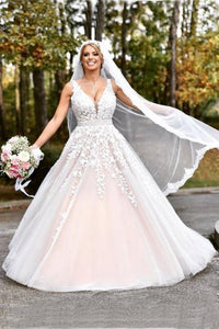 Elegant A-line Long V-neck Long Pink Lace Appliques Wedding Dress PFW0145
