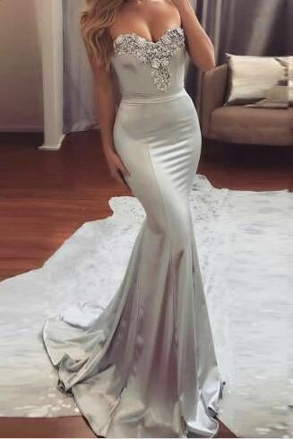 Mermaid Sweetheart Sweep Train Silver Formal 2017 Long Prom Dresses,Formal Evening Dress PFP0935