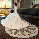 Modest 3/4 Sleeve Off the Shoulder A Line Lace Wedding Dress PFW0147