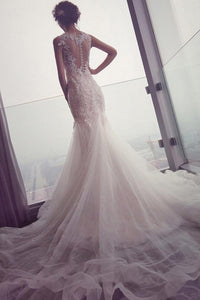 Mermaid Tulle Lace Sleeveless Long Count Train Wedding Dress PFW0148