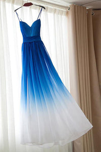 Royal Blue White Ombre Long Bridesmaid Dress,A-line Sweetheart Chiffon Prom Dresses PFP0937