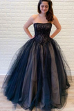 Promfast Ball Gown Strapless Lace Up Back Black Lace Appliques Prom Dresses, Sweet 16 Dresses PFP1845