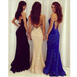 Black Backless lace Sexy mermaid beautiful Long Prom Dress PFP0946