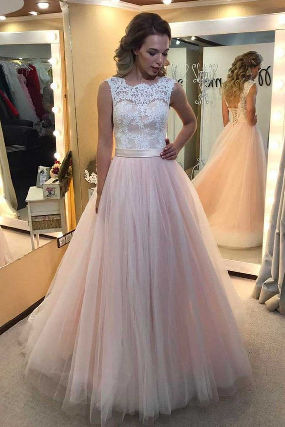 A-line Light Pink Tulle with White lace appliqued Long Backless Prom Dress PFP0947