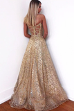 Promfast Glitter Gorgeous A-Line Sweetheart Cross Back Gold Sequins Long Prom Dresses PFP1846